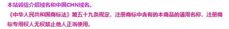本站诚信介绍域名和中国CHN域名。
